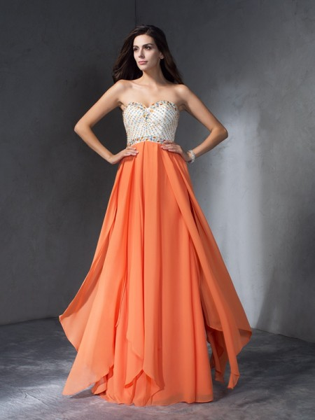 Fashion A-Line/Princess Sweetheart Sleeveless Beading Long Chiffon Dresses