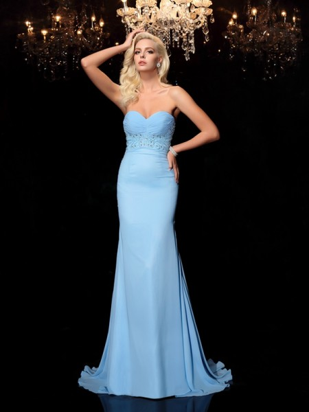 Stylish Trumpet/Mermaid Rhinestone Sleeveless Sweetheart Long Chiffon Dresses