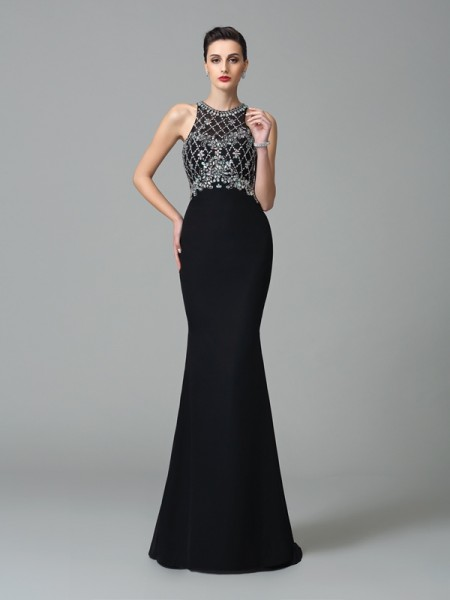 Stylish Trumpet/Mermaid Rhinestone Sleeveless Jewel Long Chiffon Dresses