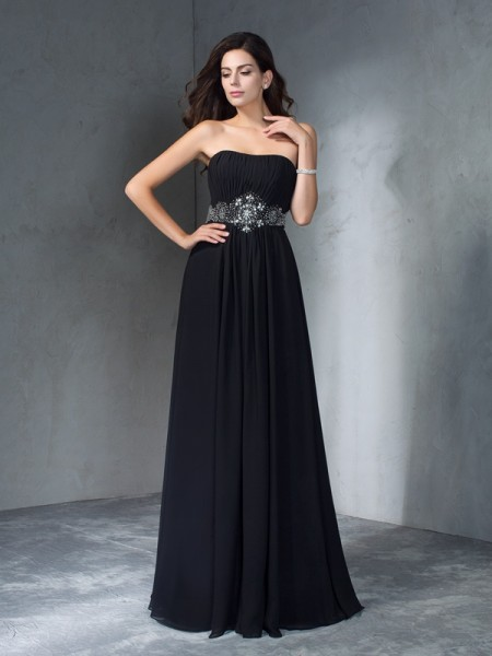 Fashion A-Line/Princess Beading Sleeveless Strapless Long Chiffon Dresses