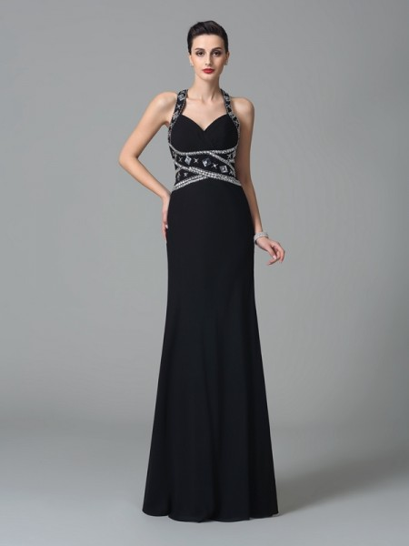 Stylish Sheath/Column Beading Sleeveless Straps Long Chiffon Dresses