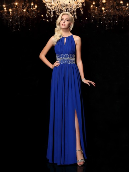 Fashion A-line/Princess Beading Sleeveless Jewel Long Chiffon Dresses
