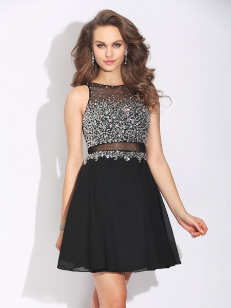 Stylish A-Line/Princess Beading Sleeveless Jewel Short Chiffon Dresses
