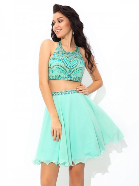 Fashion A-Line/Princess Rhinestone Sleeveless SheerNeck Short Chiffon Two Piece Dresses
