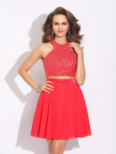 Stylish A-Line/Princess Crystal Sleeveless Jewel Short Chiffon Two Piece Dresses