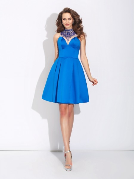 Fashion A-Line/Princess Beading Sleeveless High Neck Short Satin Dresses