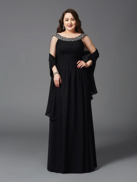 Stylish A-Line/Princess Rhinestone Sleeveless Scoop Long Chiffon Plus Size Dresses