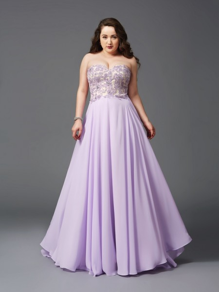 Stylish A-Line/Princess Lace Sleeveless Sweetheart Long Chiffon Plus Size Dresses