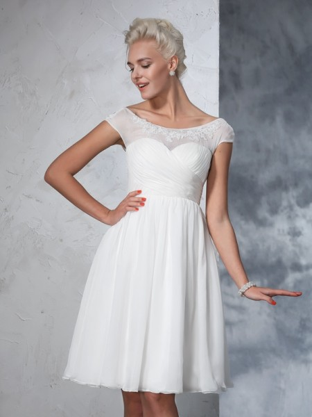 Fashion A-Line/Princess Ruched Short Sleeves SheerNeck Short Chiffon Wedding Dresses