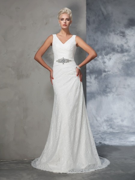 Stylish Trumpet/Mermaid Lace Sleeveless V-neck Long Lace Wedding Dresses