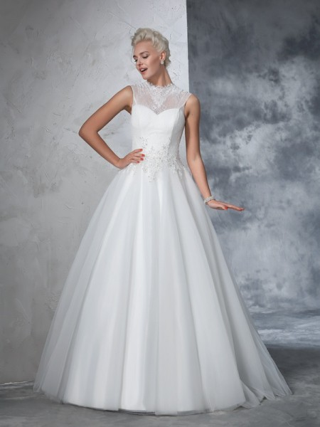 Fashion Ball Gown Applique Sleeveless High Neck Long Net Wedding Dresses
