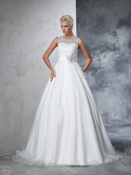Stylish Ball Gown Lace Sleeveless SheerNeck Long Net Wedding Dresses