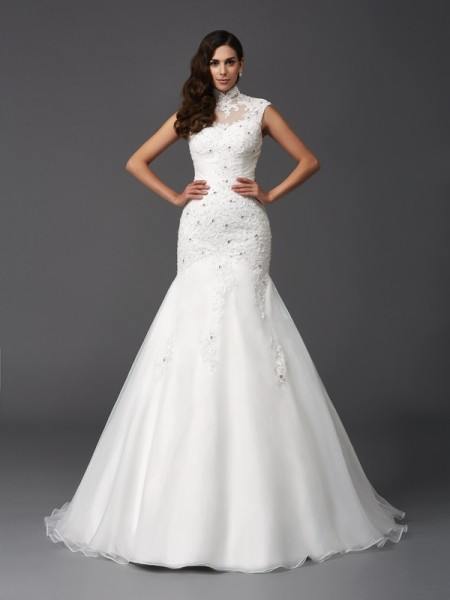 Stylish Trumpet/Mermaid Beading Sleeveless High Neck Long Organza Wedding Dresses