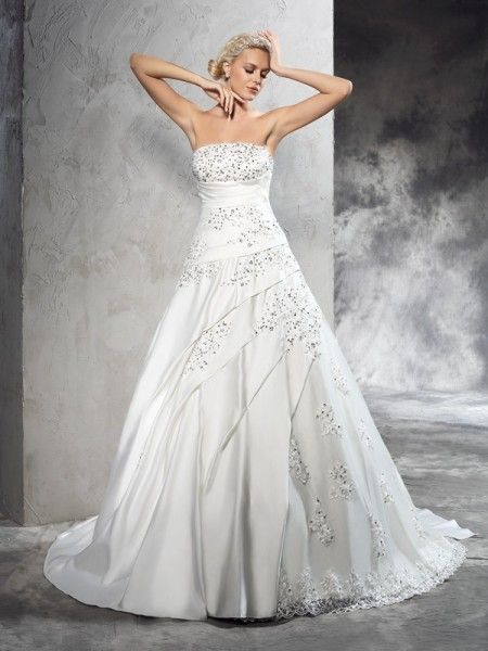 Fashion Ball Gown Beading Sleeveless Strapless Long Satin Wedding Dresses