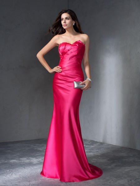 Stylish Trumpet/Mermaid Sleeveless Long Sweetheart Satin Dresses