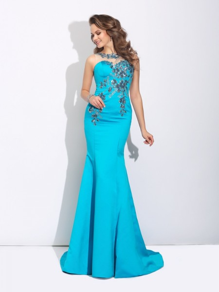Stylish Trumpet/Mermaid Applique Sleeveless Scoop Long Satin Dresses