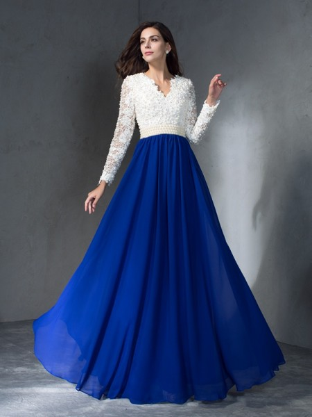 Stylish A-Line/Princess Long Sleeves Long V-neck Chiffon Dresses