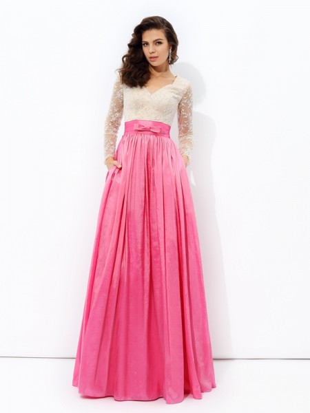 Fashion A-line/Princess Lace Long Sleeves V-neck Long Taffeta Dresses
