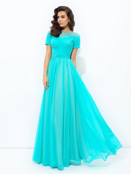 Stylish A-line/Princess Lace Short Sleeves Bateau Long Chiffon Dresses