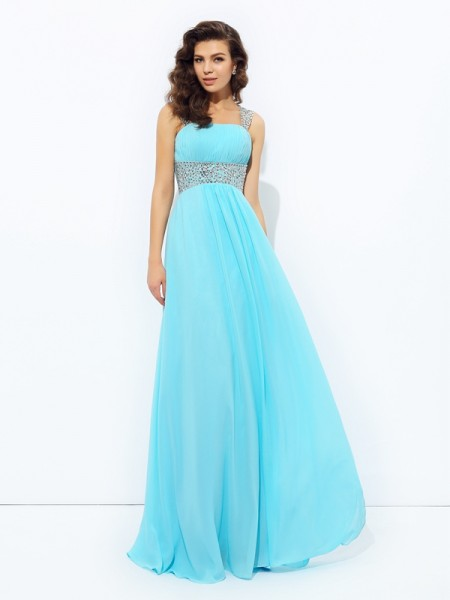 Stylish A-line/Princess Sequin Sleeveless Straps Long Chiffon Dresses