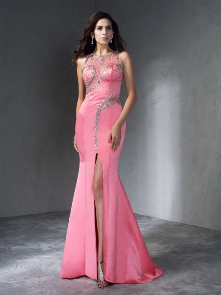 Fashion Trumpet/Mermaid Beading Sleeveless Scoop Long Satin Dresses