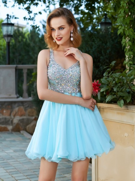 Stylish A-Line/Princess Rhinestone Straps Sleeveless Short/Mini Chiffon Dresses