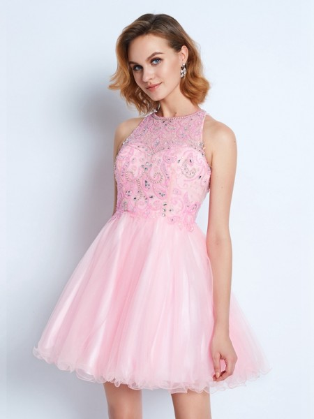 Stylish A-line/Princess Jewel Short/Mini Sleeveless Net Ruffles Dresses