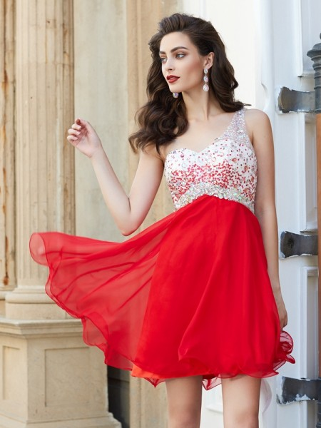Stylish A-line/Princess Beading Sleeveless One-Shoulder Chiffon Short/Mini Dresses