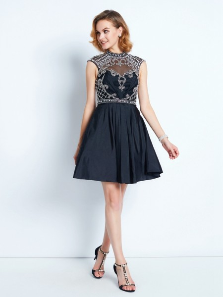 Fashion A-Line/Princess High Neck Beading Sleeveless Short/Mini Satin Dresses