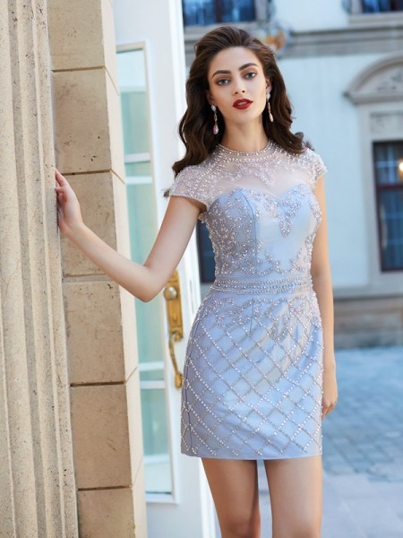 Fashion Sheath/Column Short Sleeves Beading Jewel Satin Short/Mini Dresses