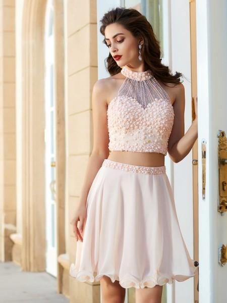 Stylish A-Line Princess Beading Sleeveless Halter Chiffon Short Mini Two  Piece Dresses 1f8dd99e7