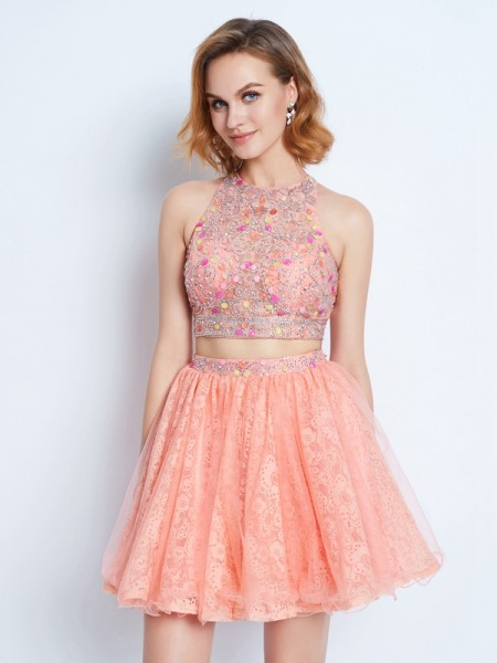 Fashion A-Line/Princess Sleeveless Lace Jewel Beading Short/Mini Two Piece Dresses