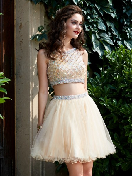 Stylish A-Line/Princess Net Sleeveless Scoop Beading Short/Mini Two Piece Homecoming Dresses