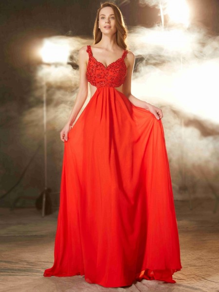 Fashion A-Line/Princess Sleeveless Floor-Length Straps Applique Chiffon Dresses