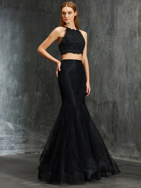 Fashion Trumpet/Mermaid Straps Sleeveless Spaghetti Applique Floor-Length Net Two Piece Dresses