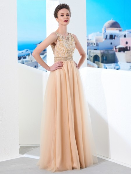 Fashion A-Line/Princess Sleeveless Floor-Length Scoop Beading Tulle Dresses