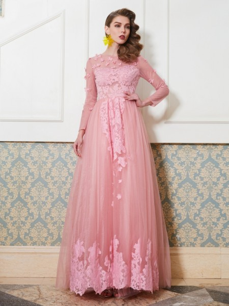 Fashion A-Line/Princess 3/4 Sleeves Floor-Length Scoop Applique Tulle Dresses