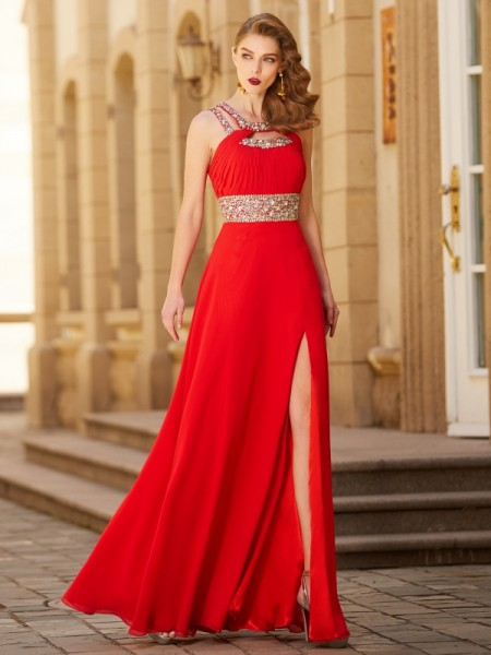 Fashion A-line/Princess Beading Sleeveless Scoop Floor-length Chiffon Dresses