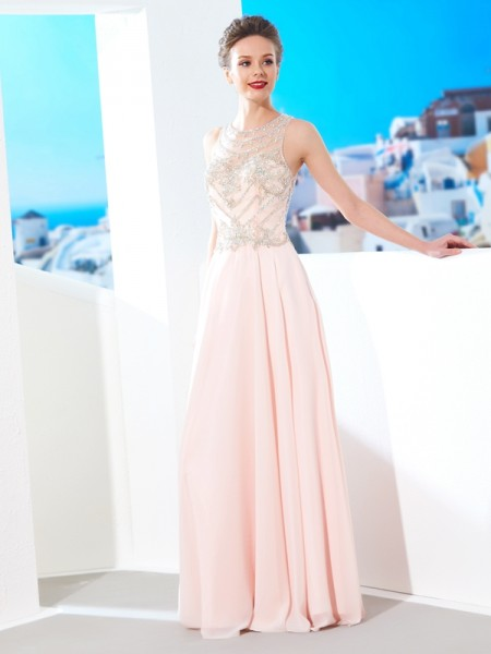 Fashion A-Line/Princess Sleeveless Chiffon Scoop Crystal Floor-length Dresses