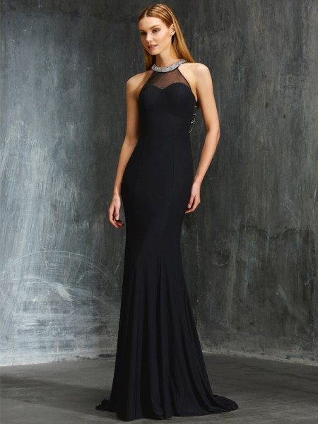 Stylish Sheath/Column Beading Sleeveless Jewel Spandex Sweep/Brush Train Dresses
