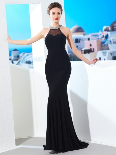 Fashion Sheath/Column Beading Sleeveless Jewel Spandex Sweep/Brush Train Dresses