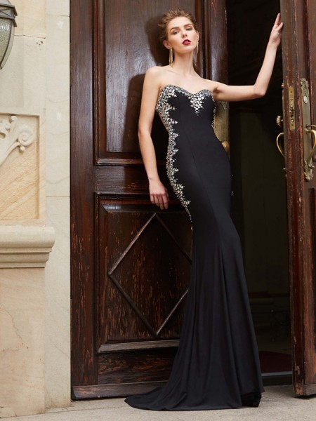 Stylish Sheath/Column Sequin Sleeveless Sweetheart Spandex Sweep/Brush Train Dresses