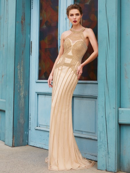 Stylish Sheath/Column Sleeveless Sweep/Brush High Neck Train Beading Net Dresses