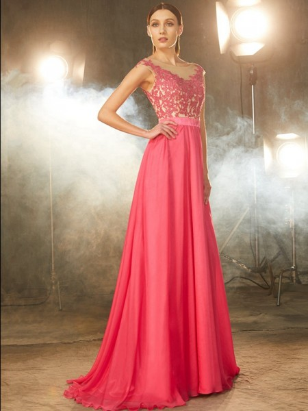 Fashion A-Line/Princess SheerNeck Sweep/Brush Sleeveless Train Applique Chiffon Dresses