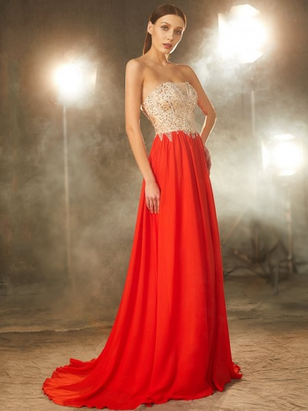 Stylish A-Line/Princess Beading Sleeveless Strapless Chiffon Sweep/Brush Train Dresses
