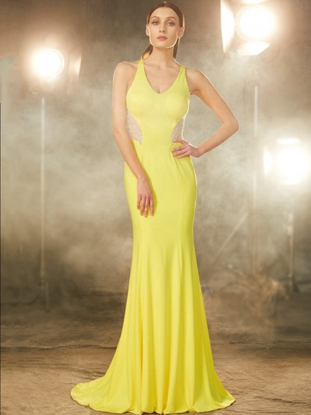Fashion Trumpet/Mermaid Sleeveless Sweep/Brush V-neck Train Beading Spandex Dresses