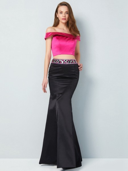 Stylish Trumpet/Mermaid Sleeveless Floor-Length Off-the-Shoulder Beading Satin Two Piece Dresses