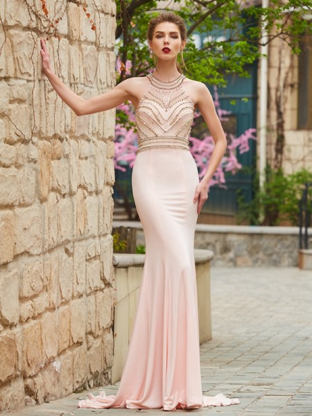 Stylish Sheath/Column Sleeveless Sweep/Brush Scoop Train Beading Spandex Dresses