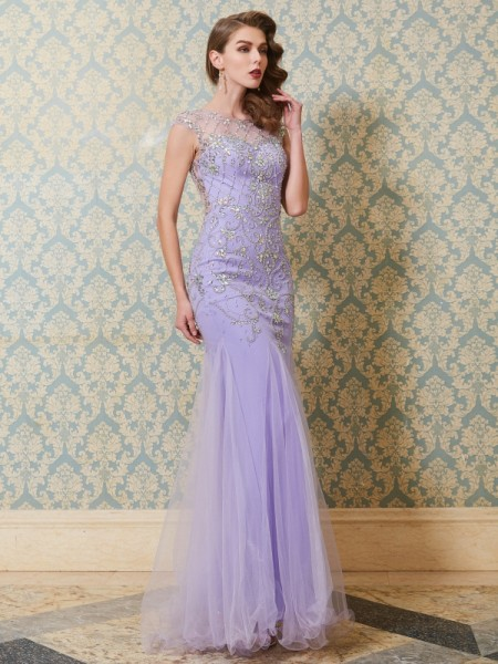 Stylish Trumpet/Mermaid Sleeveless Beading Scoop Floor-length Tulle Dresses