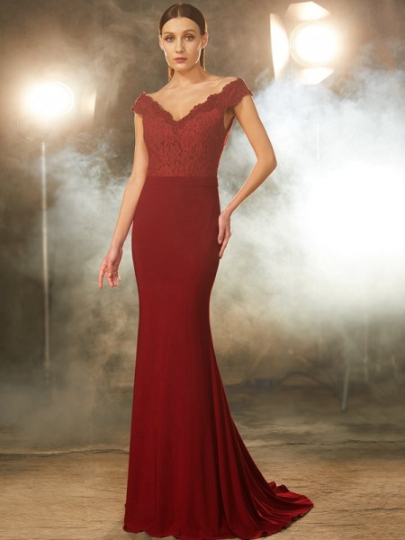 Stylish Trumpet/Mermaid Sleeveless Lace Off-the-Shoulder Spandex Sweep/Brush Train Dresses